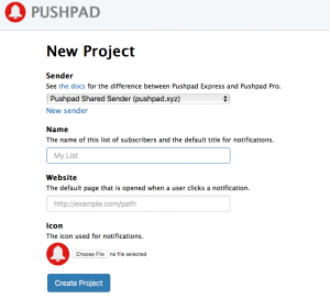 Pushpad: New Project