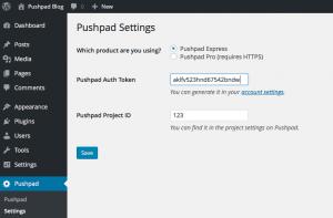 Pushpad Settings