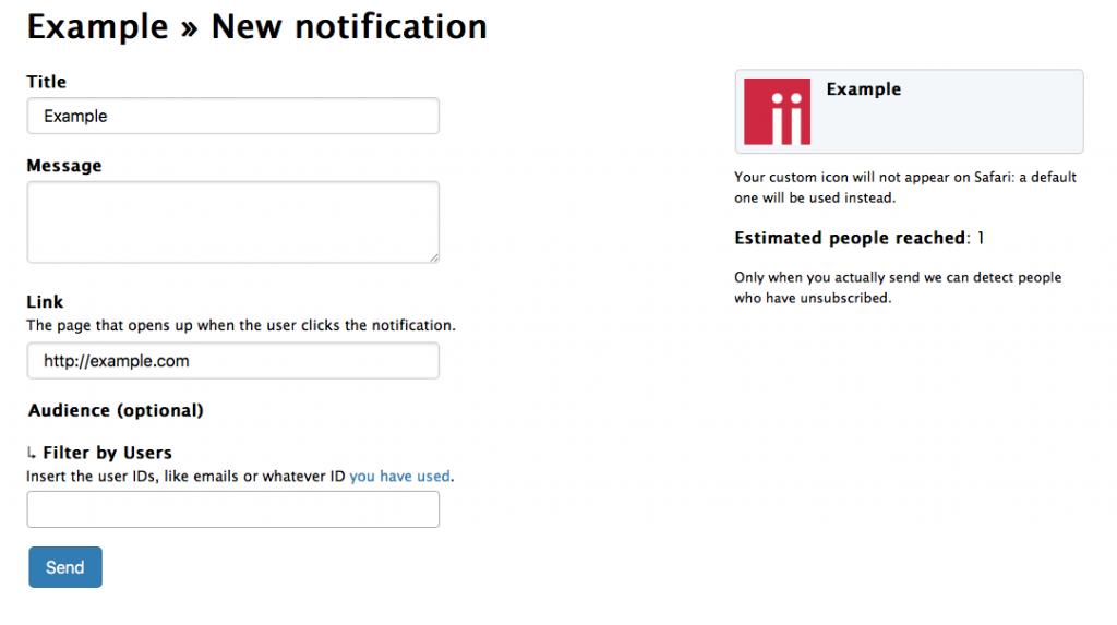 Pushpad dashboard: new notification