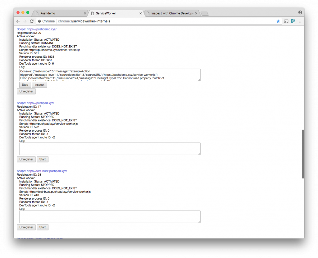 Inspect service workers with Chrome – Pushpad Blog