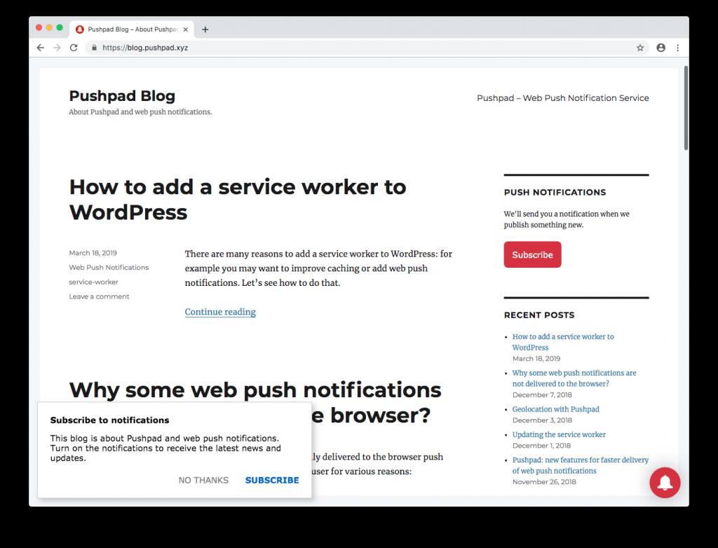 The new Pushpad widget for web push notifications – Pushpad Blog